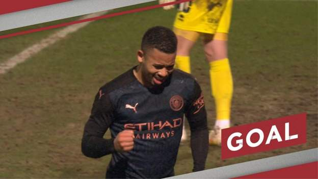 FA Cup: Gabriel Jesus scores late goal to put Manchester City ahead at Cheltenham Town - bbc