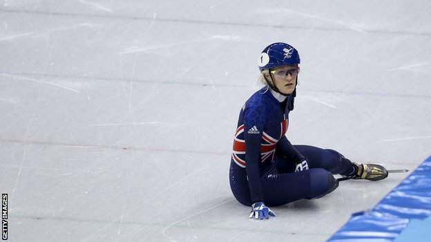 Elise Christie sits on the ice in Pyeongchang