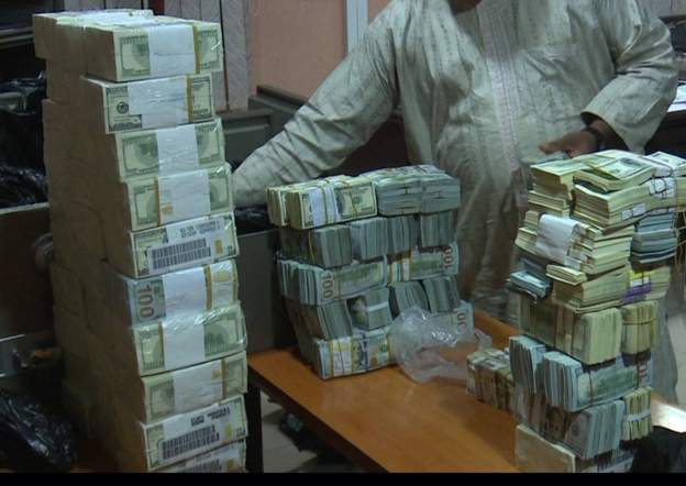 Money found in an EFCC raid on a building in Kaduna, Nigeria