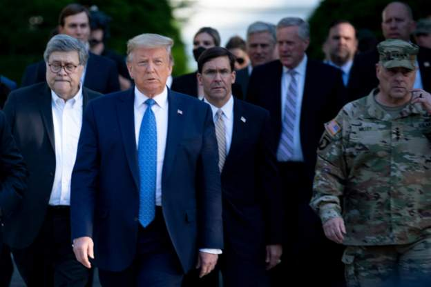 Mark Esper walked behind Trump on the way to the church