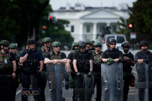 Law enforcement outside the White House today