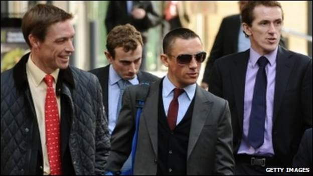 Richard Hughes, Ryan Moore, Frankie Dettori Dettori and McCoy arrive for talks