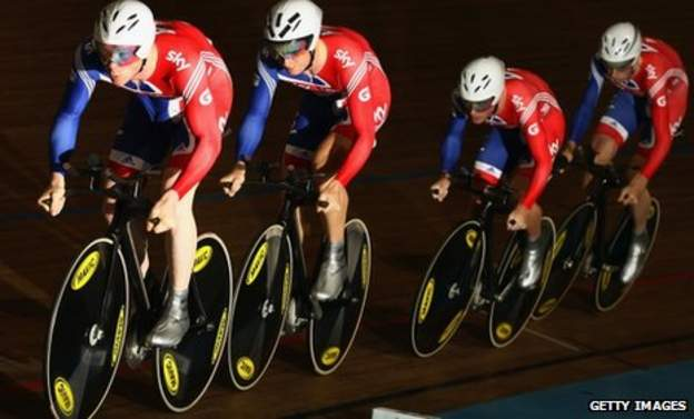 Ed Clancy leads team-mates Steven Burke, Peter Kennaugh and Andy Tennant during the team pursuit final at the European Championships