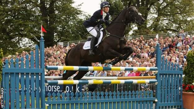 Zara Phillips in action at the Burghley Horse Trials