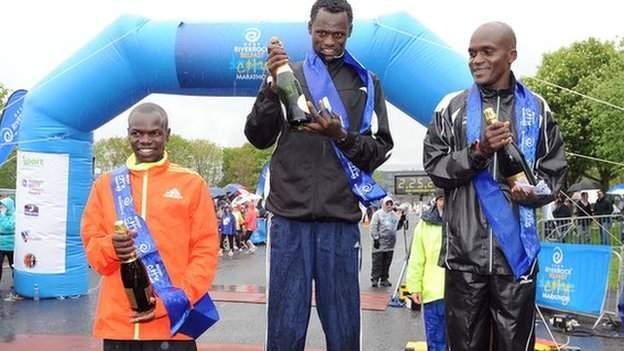 2012 Belfast Marathon winner Urga Negewo with runners-up David Kipserem Kisang and Jacob Chesire