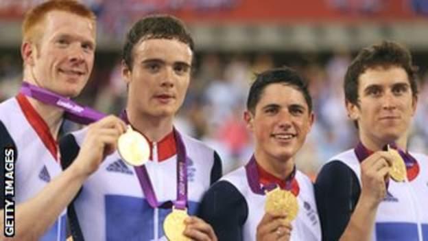 The victorious Great Britain team pursuit quartet