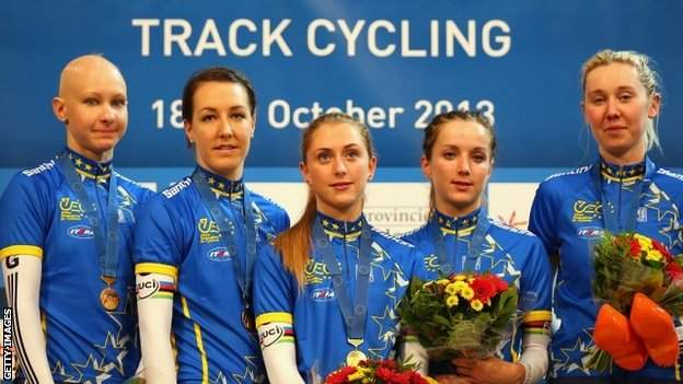 """Joanna Rowsell, Danielle King, Laura Trott, Elinor Barker and Katie Archibald stand on the podium after winning the Women""""s Team Pursuit on day one of the 2013 European Elite Track Championship"""