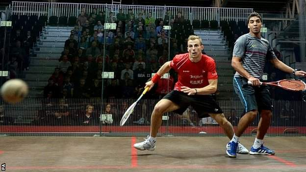 England's Nick Matthew in action against Zahed Mohamed of Egypt