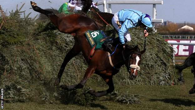 B. G Crawford falls from Mourne Paddy at The Chair during The John Smith's Fox Hunters' Steeple Chase at Aintree in 2013