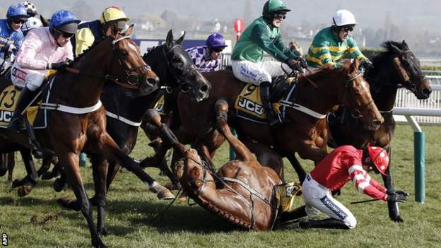 Ruby Walsh falls from his mount Abbyssial in the recent JCB Triumph Hurdle at the Cheltenham Festival