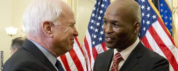 Senator John McCain and Bernard Hopkins