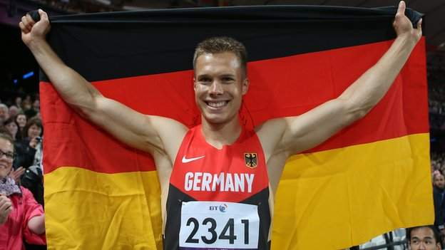 Markus Rehm celebrates after winning gold at the London 2012 Paralympic Games