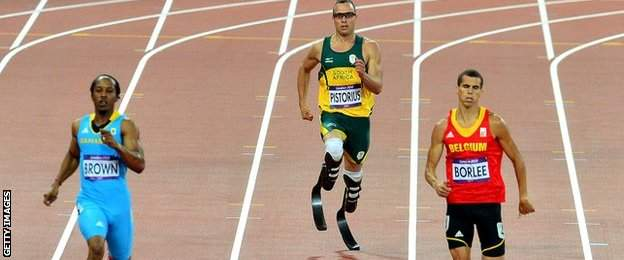 Oscar Pistorius competing in the men's 400m semi-final at the London 2012 Olympic Games