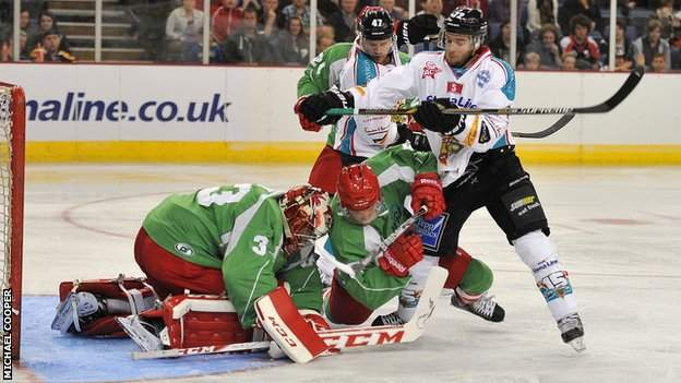 Belfast duo Darryl Lloyd and Adam Keefe battle with Cardiff's Ben Bowns