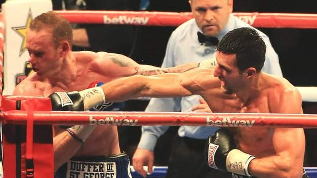 Carl Froch (right) and George Groves during their WBA and IBF Super Middleweight World Championship title fight in London in May