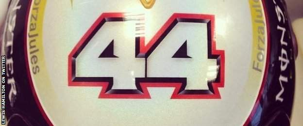 Lewis Hamilton's helmet with a message of support for Jules Bianchi
