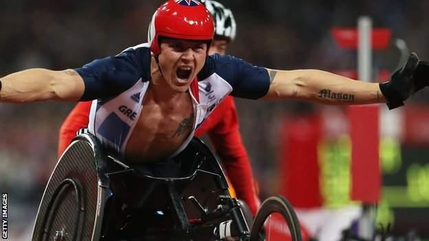 David Weir celebrates at London 2012