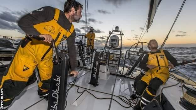Luke Parkinson, Adil Khalid and Roberto Bermudez of Abu Dhabi Ocean Racing