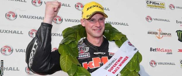 Ryan Farquhar celebrates after his Supertwins triumph on Thursday evening