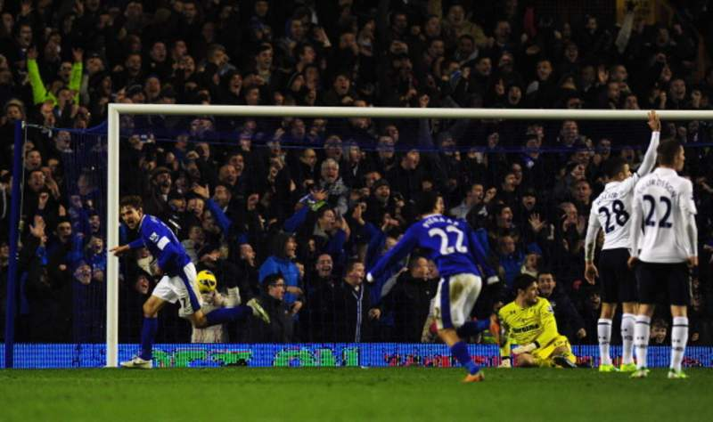 Croatian striker Nikica Jelavic scores the late winner against Spurs at Goodison in March 2012