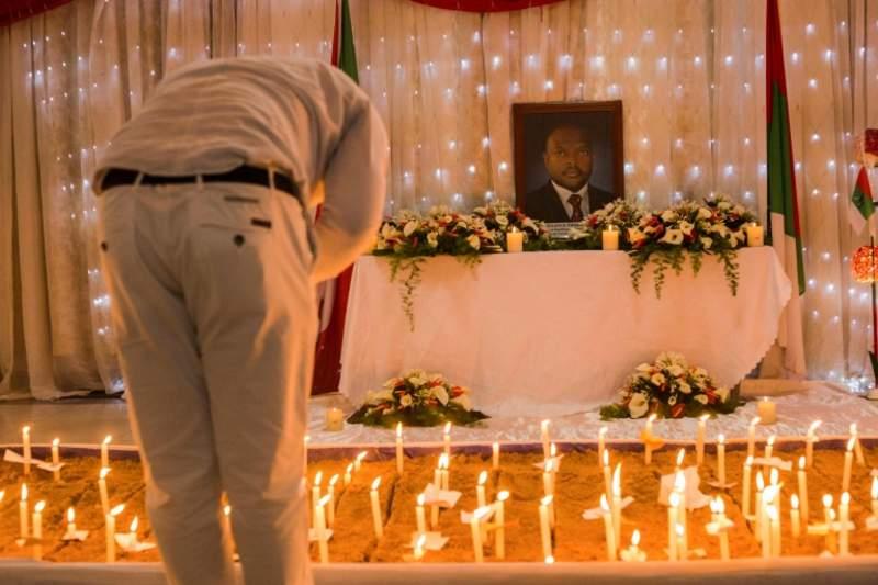 "A supporter during the memorial service for Burundi""s President Pierre Nkurunziza"