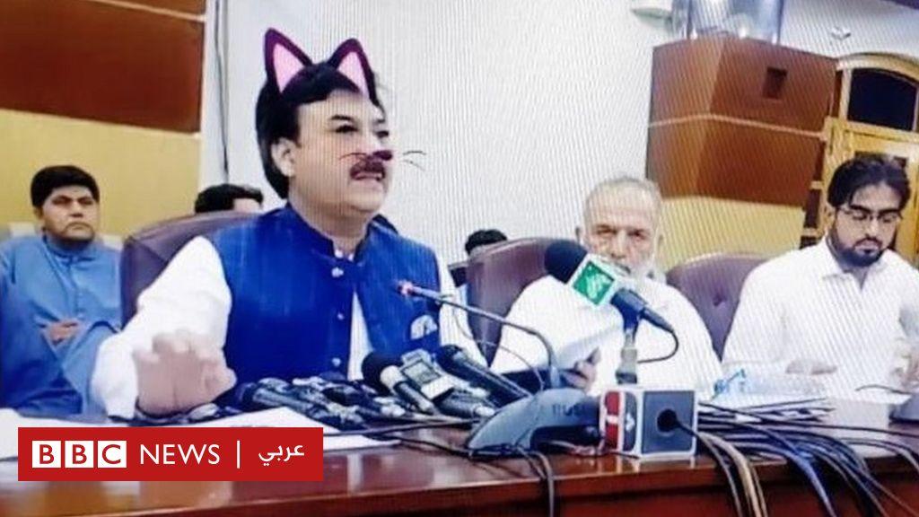سياسي باكستاني يتعرض للسخرية إثر خطأ تقني أظهره بوجه قط