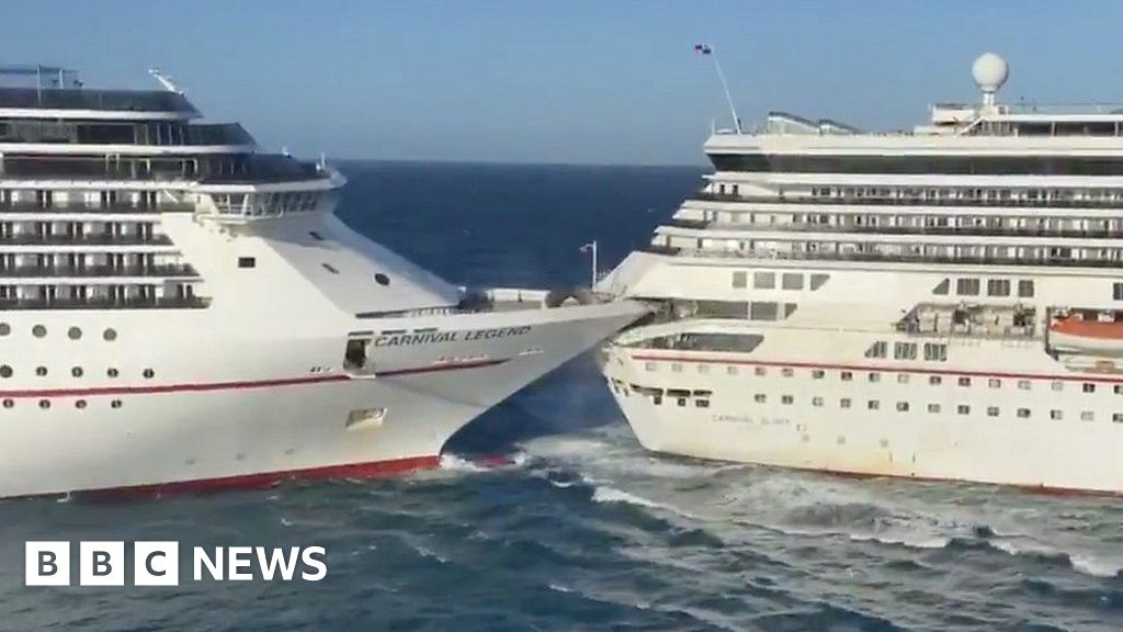 Two cruise ships collide in the Caribbean thumbnail