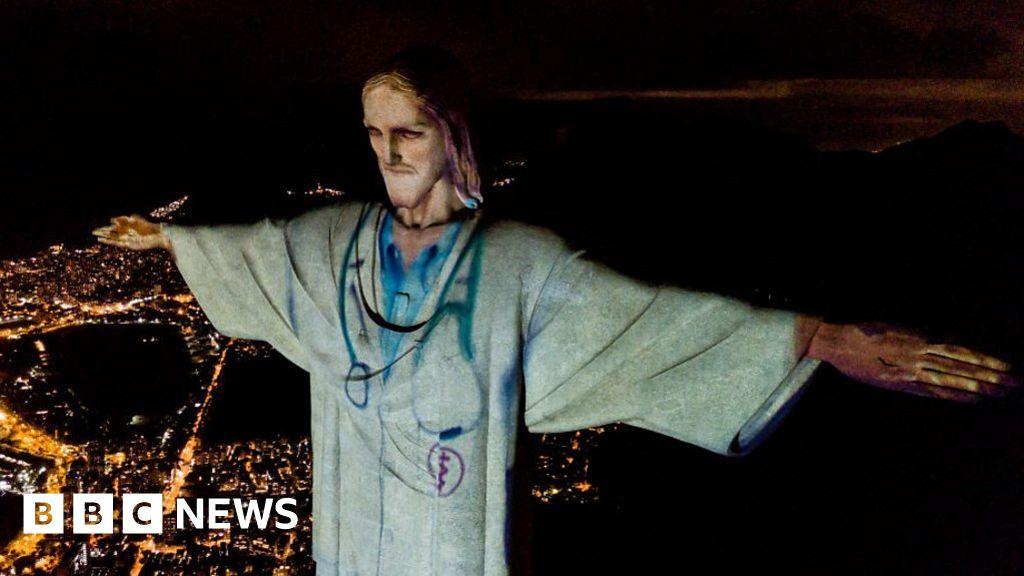 Coronavirus: Christ the Redeemer statue in Rio lit doctor