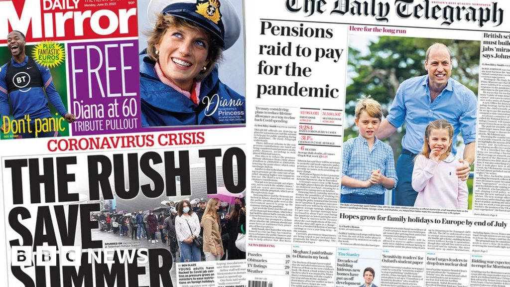 Newspaper headlines: Jab hope to save summer and pensions tax threat