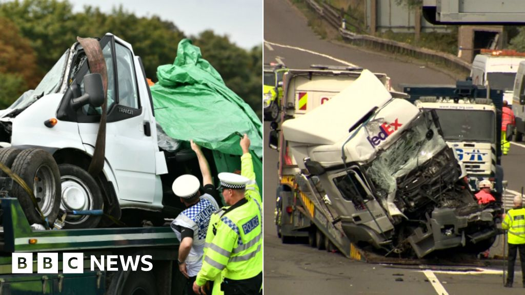 Lorry drivers charged over M1 fatal crash - BBC News