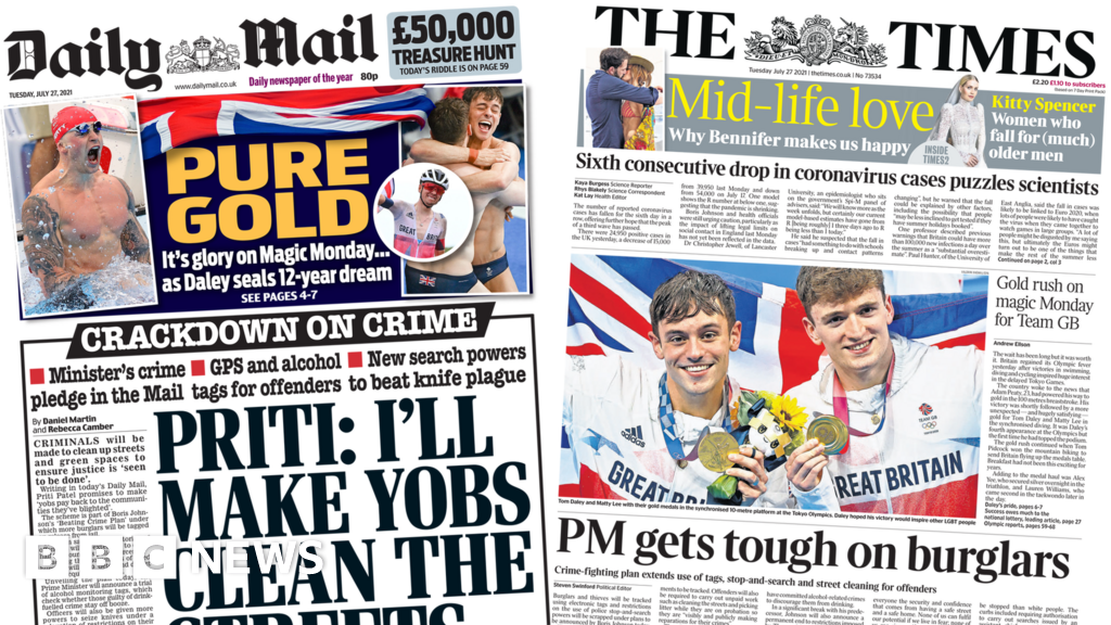 Newspaper headlines: 'Pure gold' at Olympic and tags for burglars plan