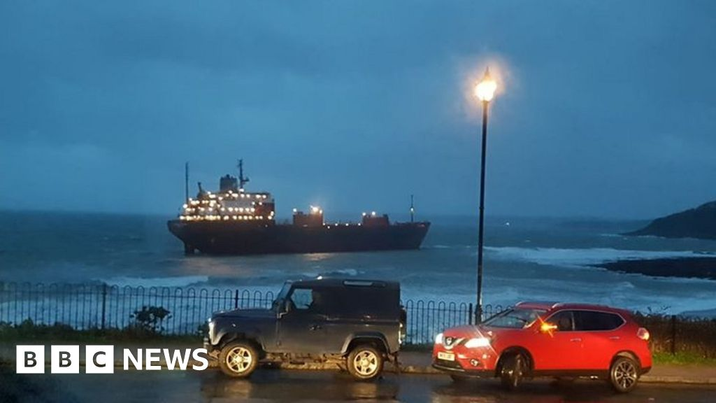 Russian cargo ship grounded off beach