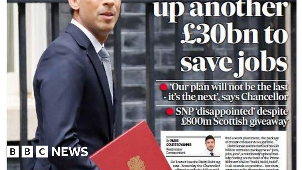 Scotland's papers: Sunak unveils £30bn jobs plan and stabbing terror thumbnail