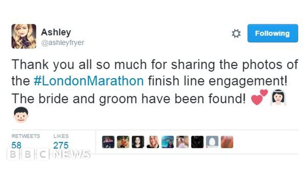 Mystery London Marathon couple saying 'I do' revealed - BBC News