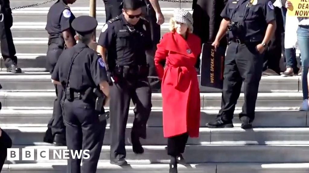 Jane Fonda led away in handcuffs on the climate change protest