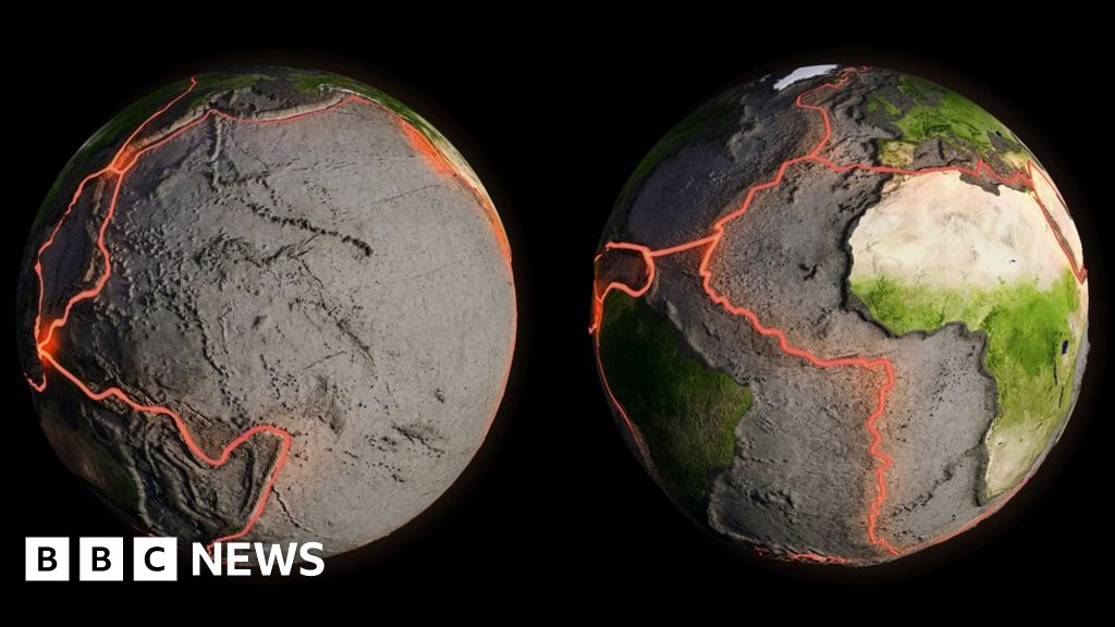 Artists impression of the Earth's tectonic plate boundaries