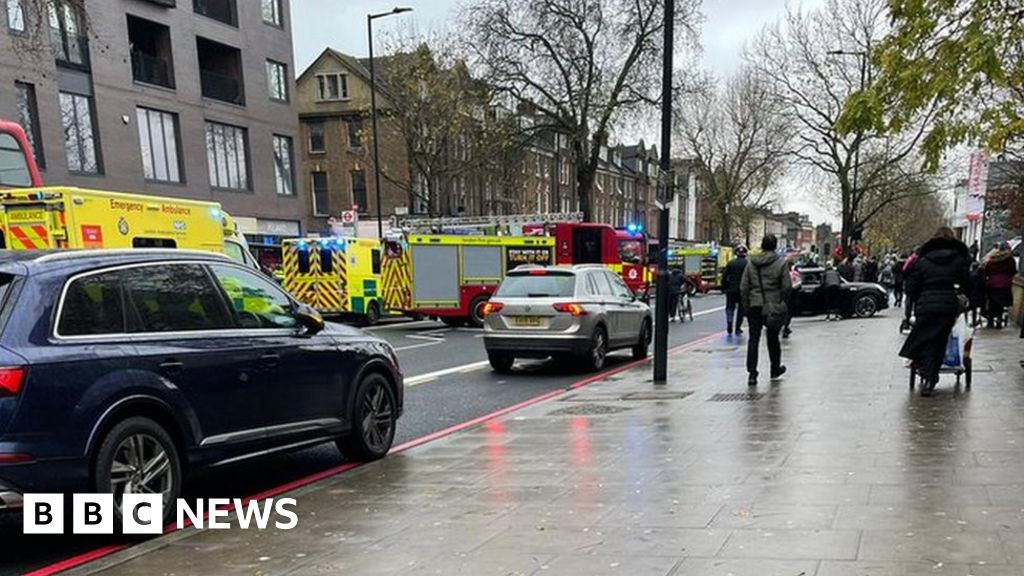 Five people hurt as car mounts pavement in Hackney