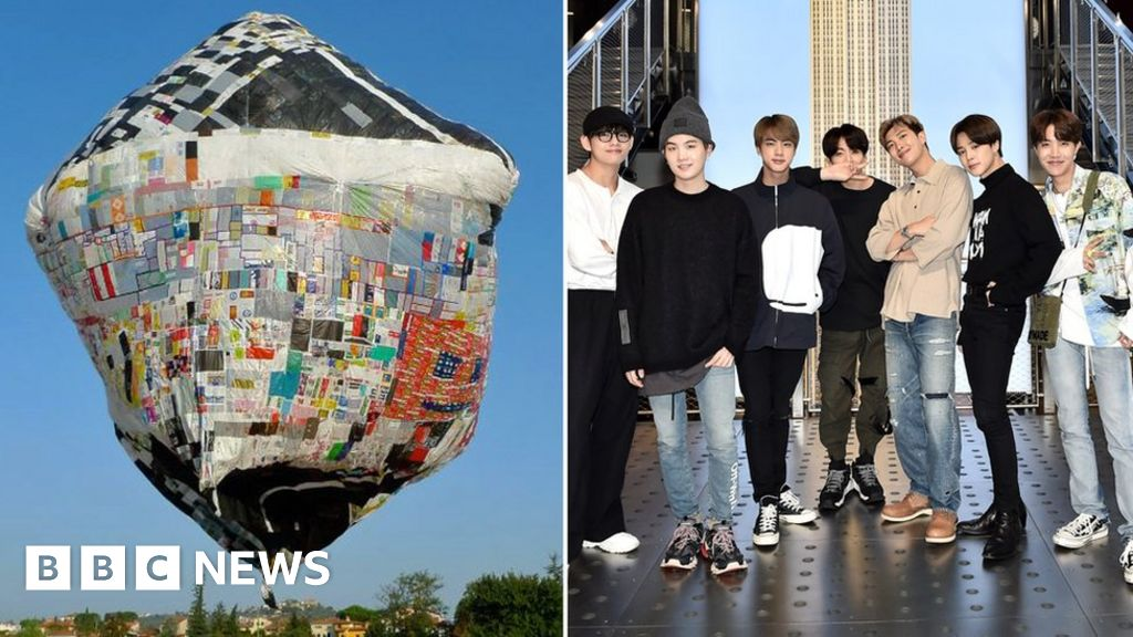 BTS art project includes balloons and scribbles