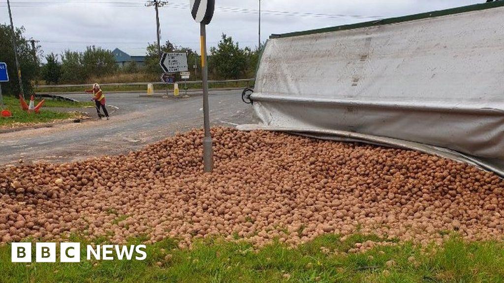 Route shut after major potato spillage thumbnail