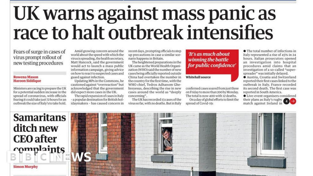 Headlines: Britain warns of coronavirus  mass panic