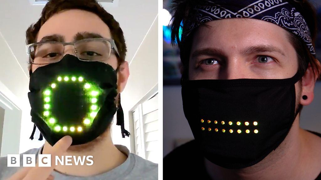 Coronavirus face mask lights up with moving mouth shapes