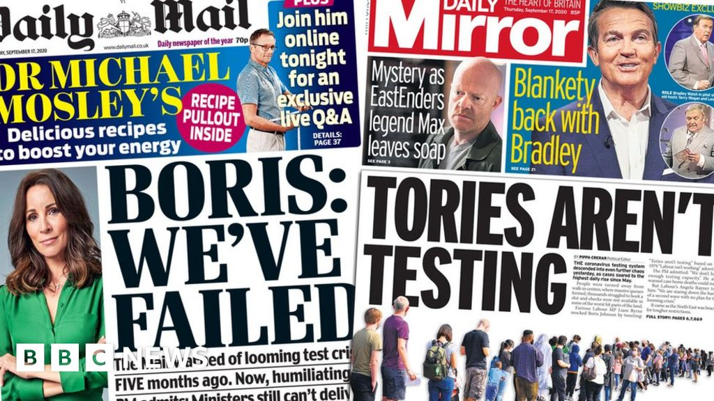 The Papers: 'Embarrassing' test admission and schools warning thumbnail