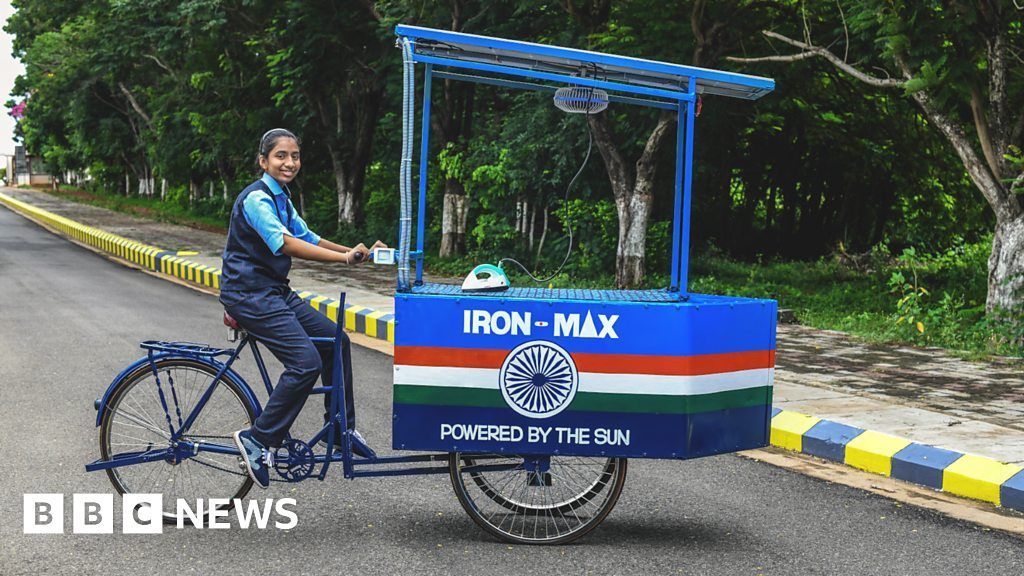Climate change in India: The young inventor's solar-powered ironing cart