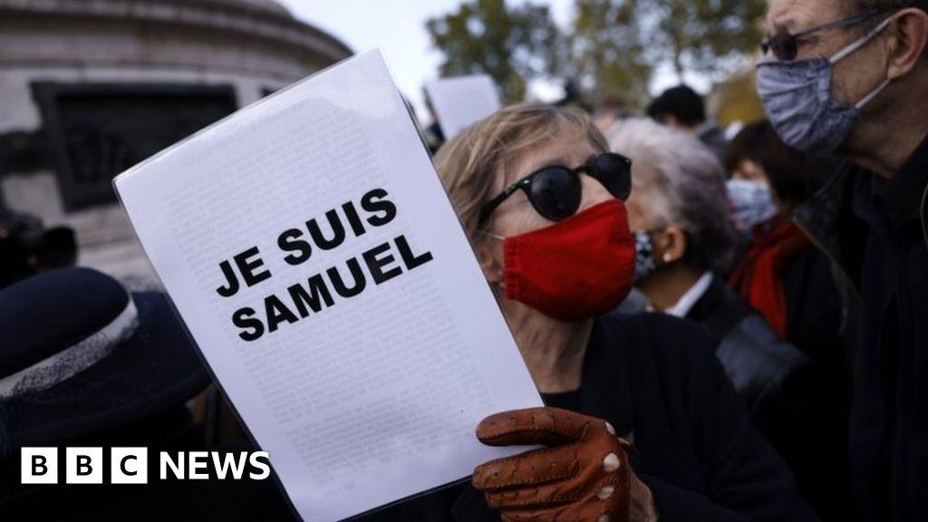 France teacher attack: Rallies held to honour beheaded Samuel Paty