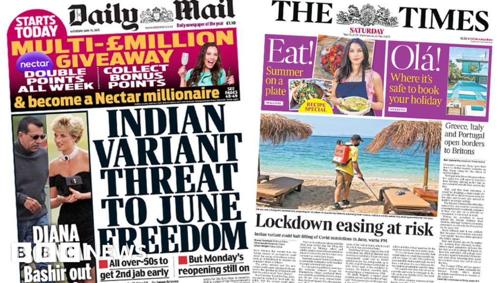The Papers: 'Threat to freedom' as PM warns of variant 'risk'