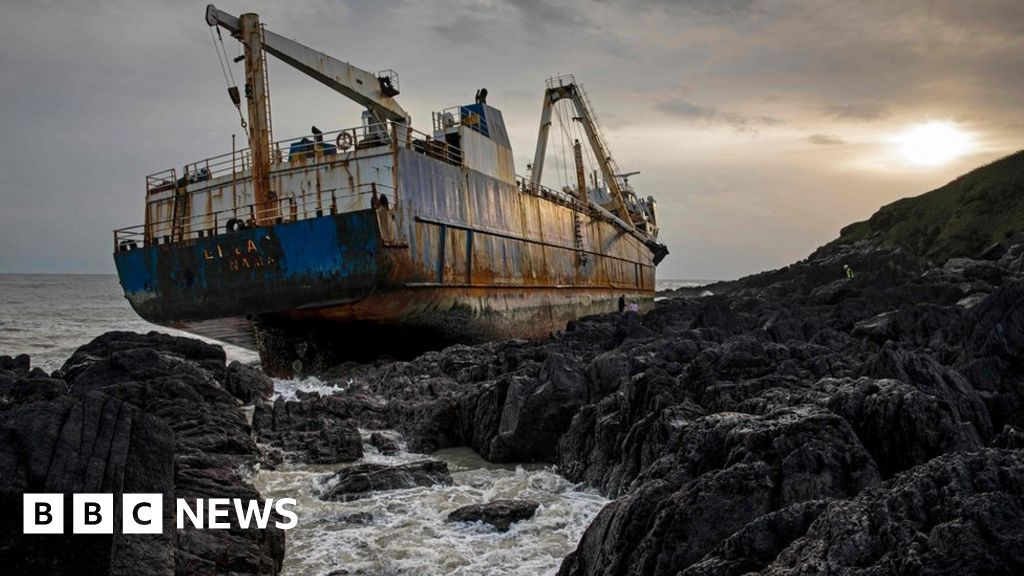 In pictures: 'Ghost ship' washed up by Storm Dennis