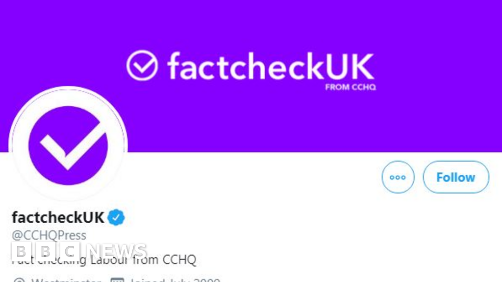 Election debate: Conservatives criticised for renaming Twitter profile 'factcheckUK'