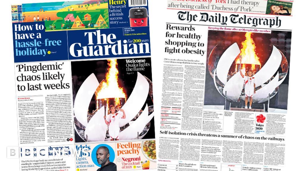Newspaper headlines: Pingdemic 'to last weeks' and healthy 'rewards' planned