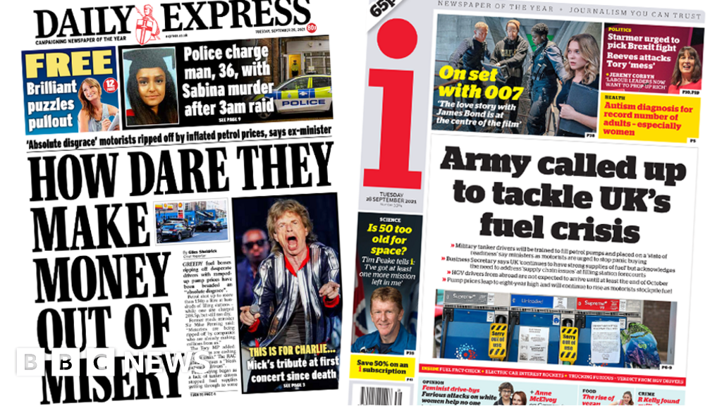 Newspaper headlines: 'Fuel firms cash in' and Army called up amid crisis