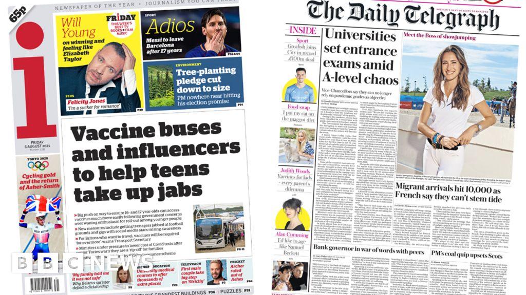 Newspaper headlines: Social media push on jabs, and uni entrance exams